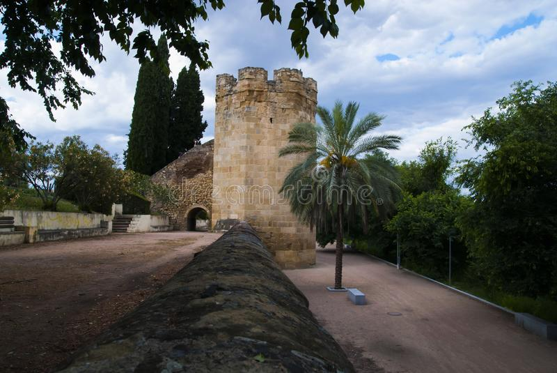 Defense tower of the wall of Cordoba stock photo