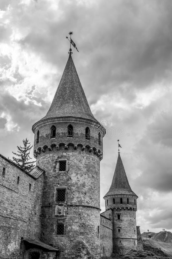The towers of the old fort. Black and white stock photos