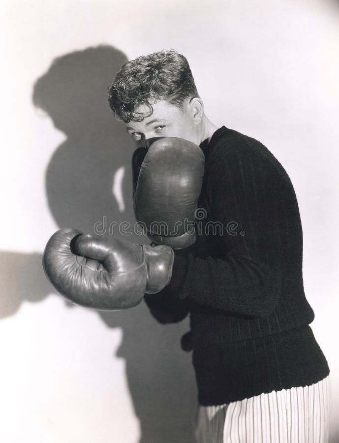 Defensive boxer stock image