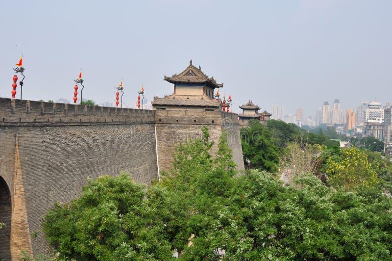 City wall of Xian, Shaanxi, China. Defensive city wall and tower of Xian, China royalty free stock photos