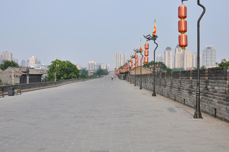 City wall of Xian, Shaanxi, China. Defensive city wall and tower of Xian, China stock image