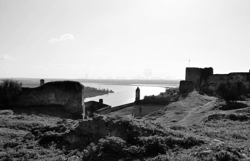 The defensive fortress and the river in black and white royalty free stock photo