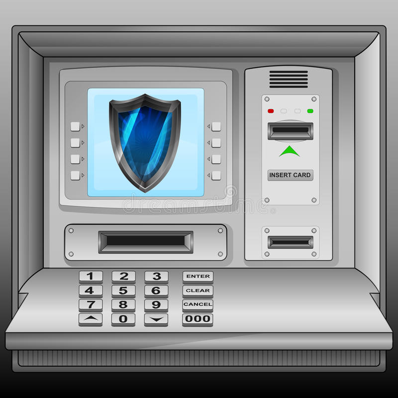 Free Defensive Shield On Cash Machine Blue Screen Royalty Free Stock Photos - 41995838