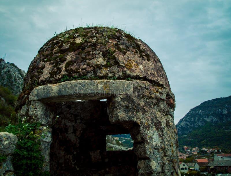 Stone turret in Kotor Montenegro. Defensive stone turret in Kotor in Eastern Europe royalty free stock image