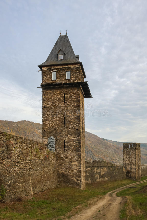 Defensive towers of Oberwesel, Germany. Two of sixteen survived towers of the medieval defensive system of the town royalty free stock photo