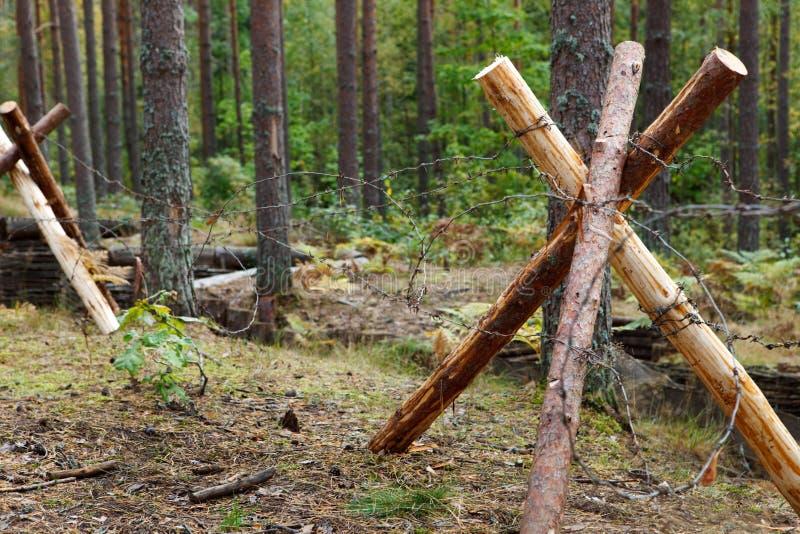 Defensiver Graben im Wald lizenzfreie stockfotos