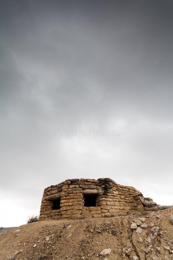 Download Defensivt Stridighetpos. I Alcubierre, Spanien Fotografering för Bildbyråer - Bild av historia, bunker: 27276949