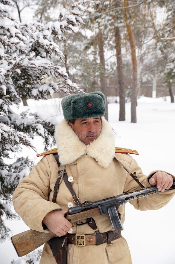 Defensor de Stalingrad em um formulário do inverno fotos de stock royalty free