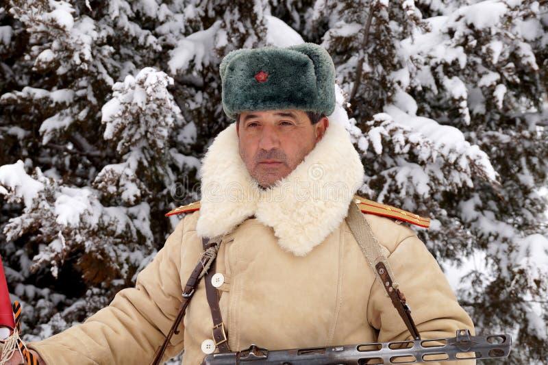Defensor de Stalingrad em um formulário do inverno fotografia de stock