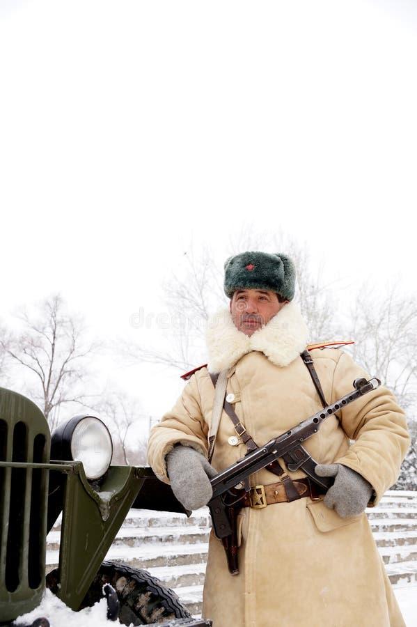 Defensor de Stalingrad em um formulário do inverno imagens de stock