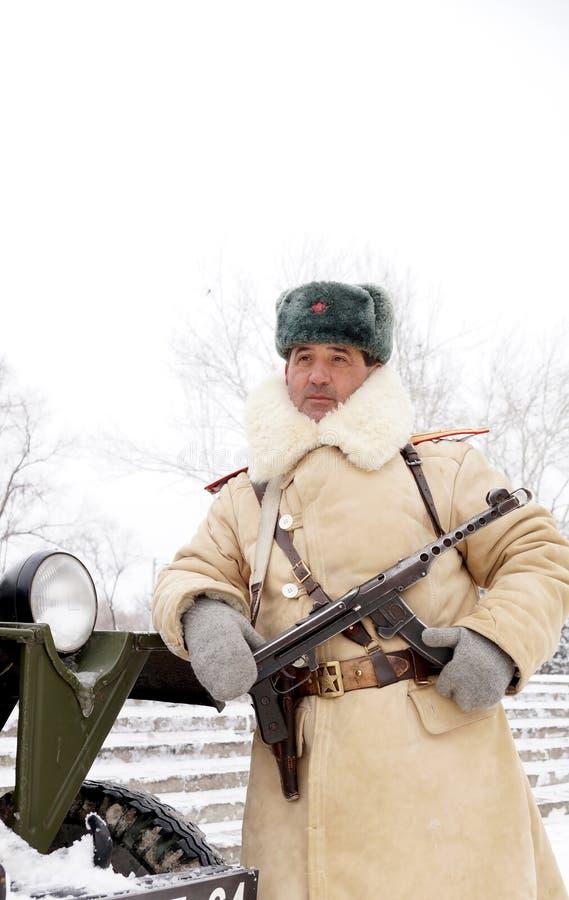 Defensor de Stalingrad em um formulário do inverno fotos de stock