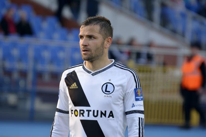 Defensor Tomasz Brzyski de Legia Varsóvia imagem de stock