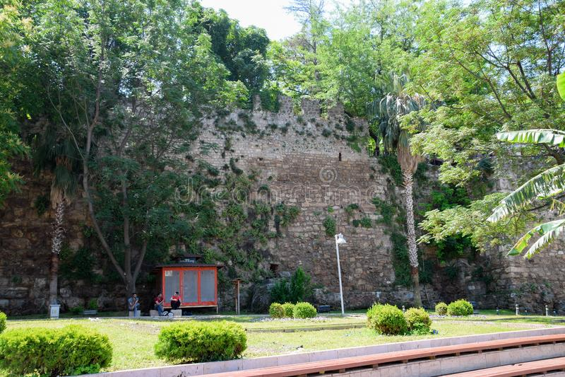 Defensywna ściana w Kaleici starym mieście i antycznej ścianie, fotografia royalty free