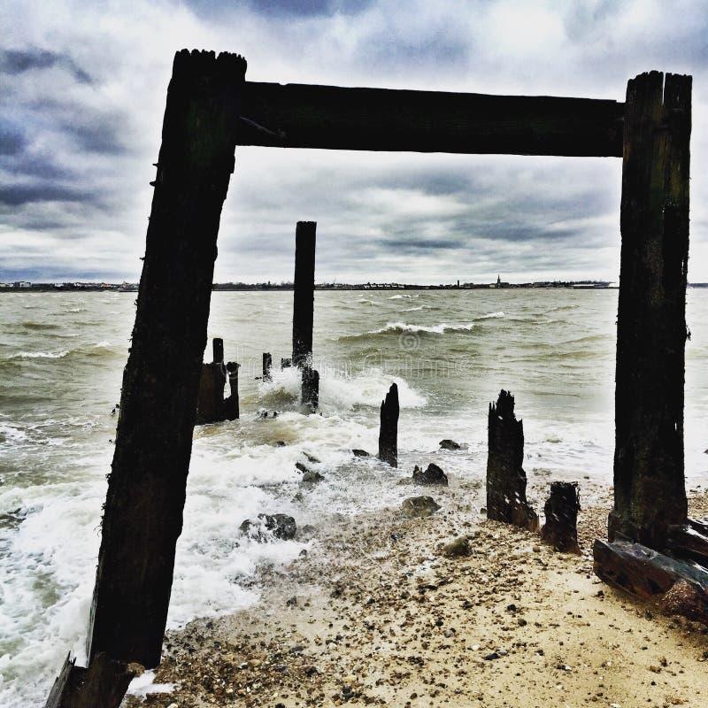 Defesas de mar, Languard, Felixstowe fotos de stock
