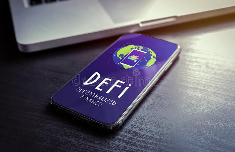 DeFi - Decentralized Finance includes digital assets, smart contracts, protocols, and dApps built on a blockchain technology stock photo