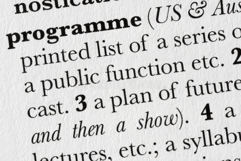 Defi del diccionario de palabra del programa fotografía de archivo