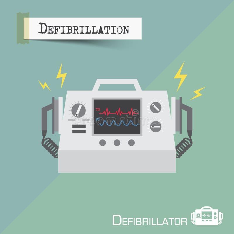Defibrillator machine . Flat design . Vector royalty free illustration