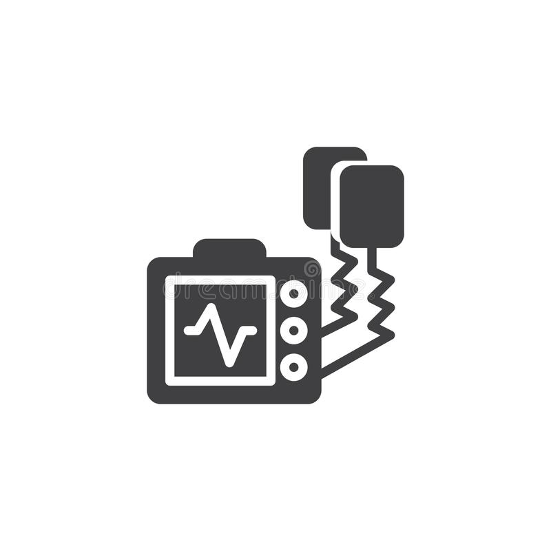Defibrillator machine vector icon. Filled flat sign for mobile concept and web design. Automated external defibrillator solid icon. AED symbol, logo royalty free illustration