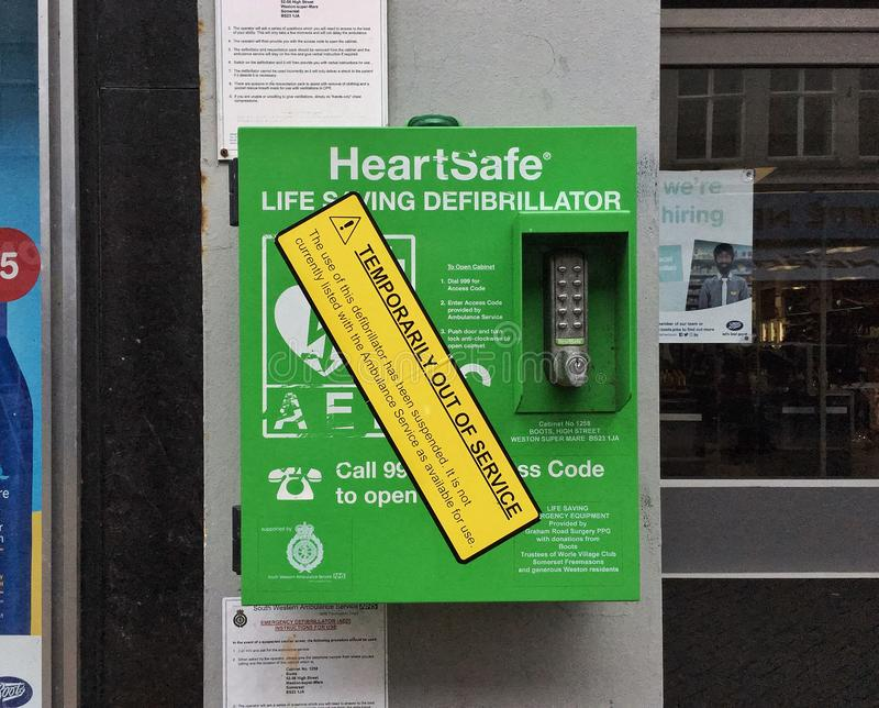 Defibrillator. A publicly-accessible defibrillator in Weston-super-Mare, UK which has temporarily been taken out of service royalty free stock image