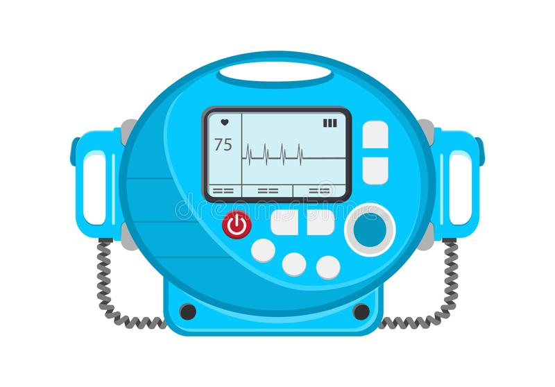 Defibrillator vector icon. Portable device used in medicine for electro-pulse therapy. Of cardiac arrhythmias, for renemational procedures stock illustration