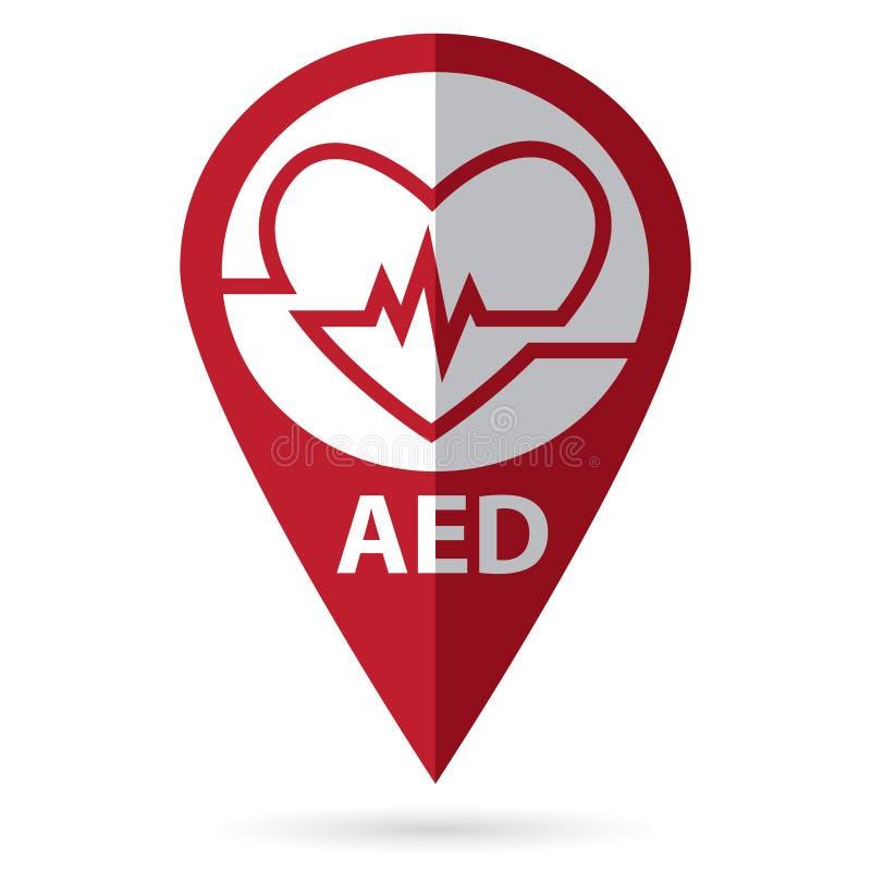 Defibrillatorsymbol mit Standortikone stockfotos