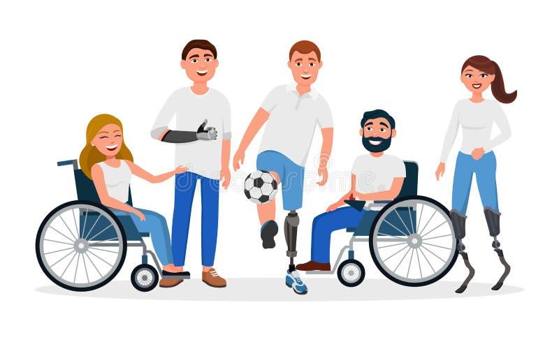 Deficientes motores com inabilidades e prótese, pessoa nas cadeiras de rodas, altas - próteses running da tecnologia, mão protéti ilustração stock