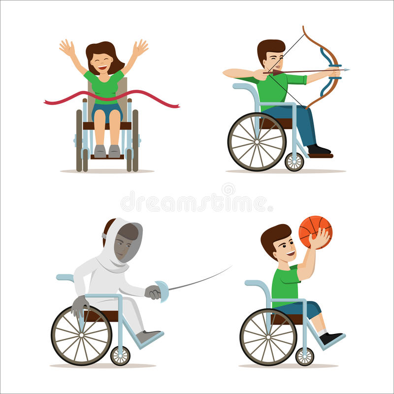 Deficientes motores nas cadeiras de rodas - arqueiro, jogador de basquetebol, atleta, esgrimista Ilustração lisa do vetor ilustração do vetor