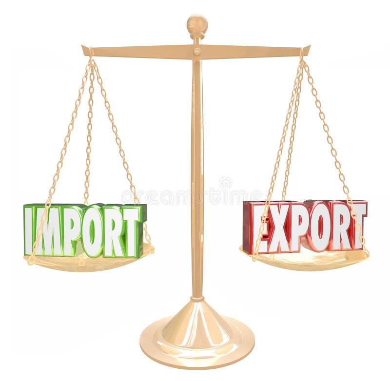 Deficit do excesso de equilíbrio de comércio da escala das palavras da exportação da importação ilustração stock