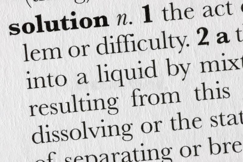 Defin del diccionario de palabra de la solución imagenes de archivo