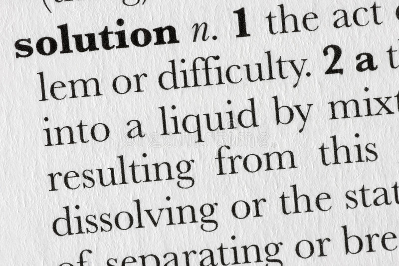 Defin do dicionário de palavra da solução imagens de stock