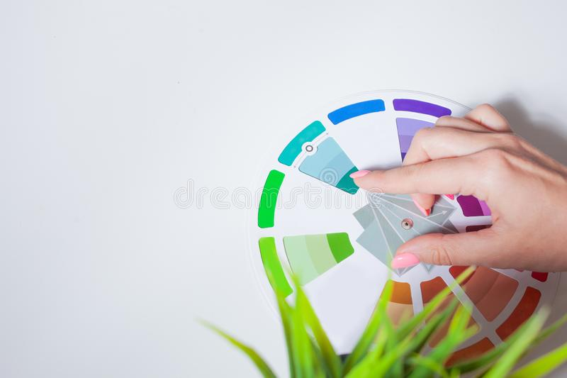 Define your color type. Female hands with neat, concise manicure rotate the color wheel. The color circle lies on a white background, next to a green plant royalty free stock image