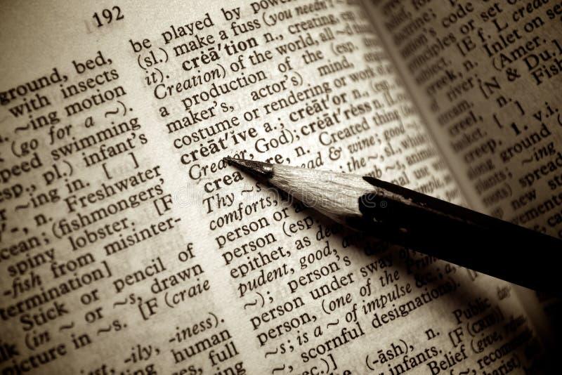 Definição creativa indic pelo lápis imagem de stock