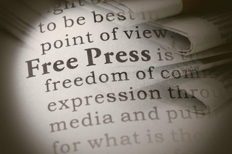 Definição da imprensa livre fotografia de stock
