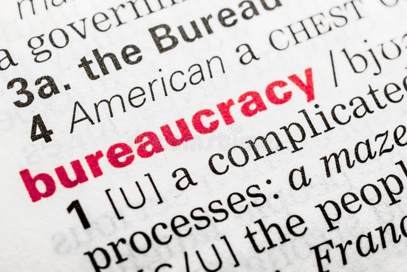 Definição da palavra da burocracia imagem de stock royalty free