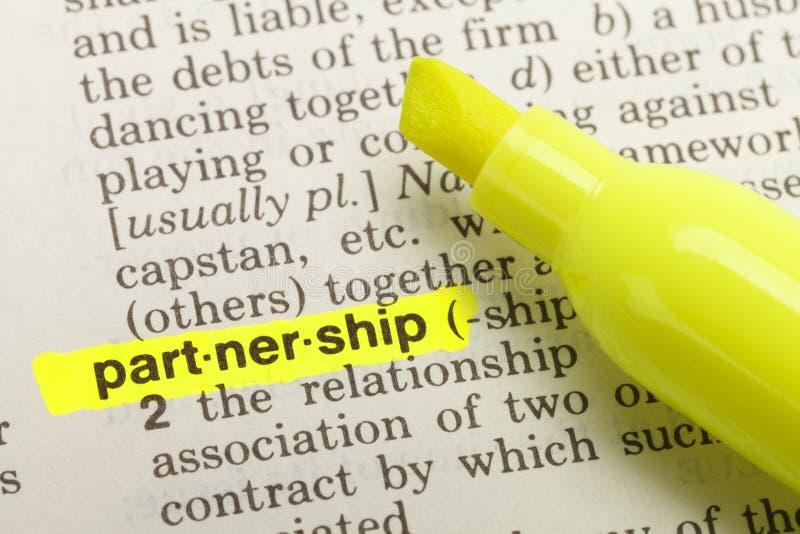 Definição da parceria foto de stock