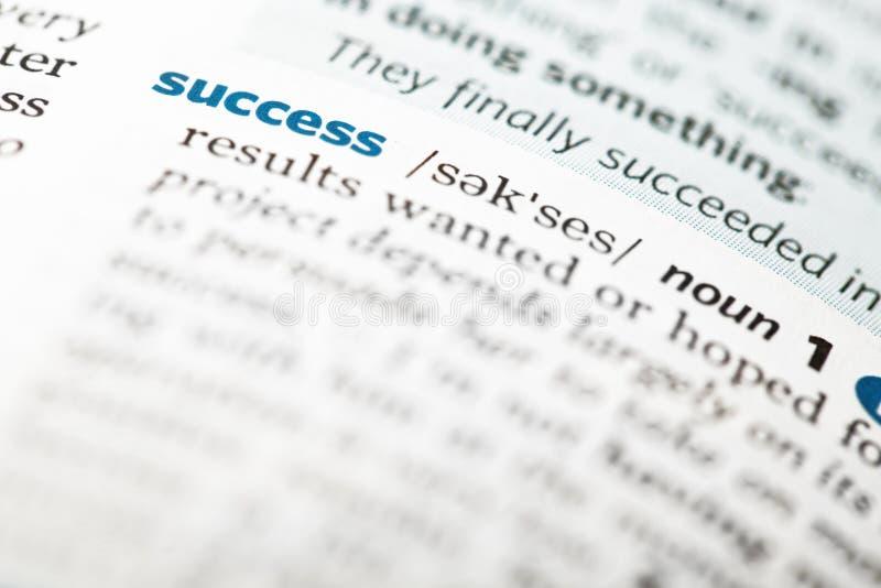 Definição de dicionário do sucesso da palavra imagem de stock