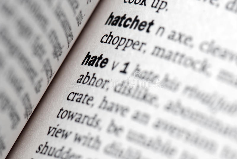 Definição do ódio no close-up imagem de stock