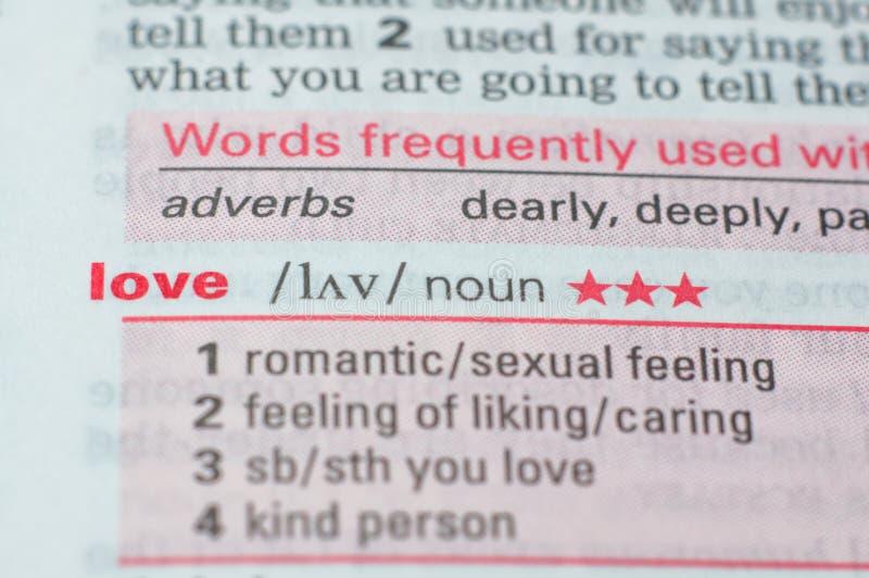 Definição do amor da palavra imagens de stock
