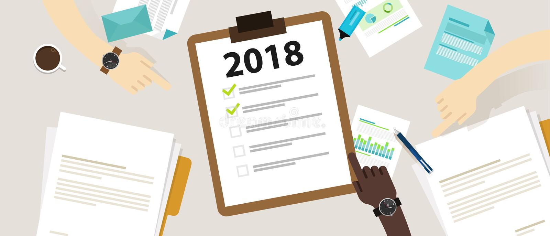 definição do ano 2018 novo e lista de verificação do negócio do alvo que planeia junto ilustração do vetor