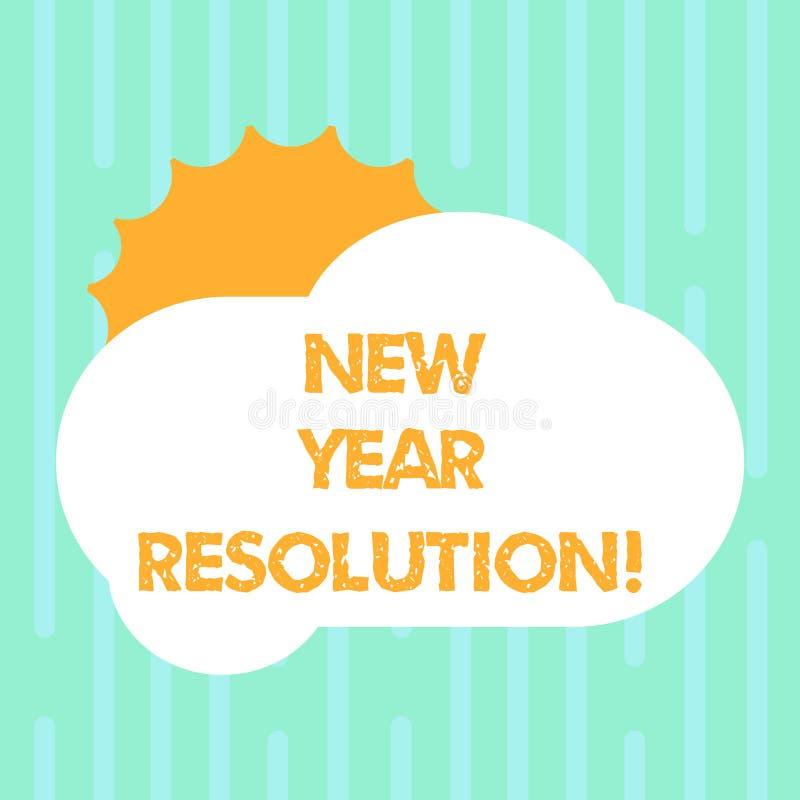 Definição do ano novo do texto da escrita da palavra Conceito do negócio para a promessa que você se faz começar fazer algo Sun ilustração do vetor