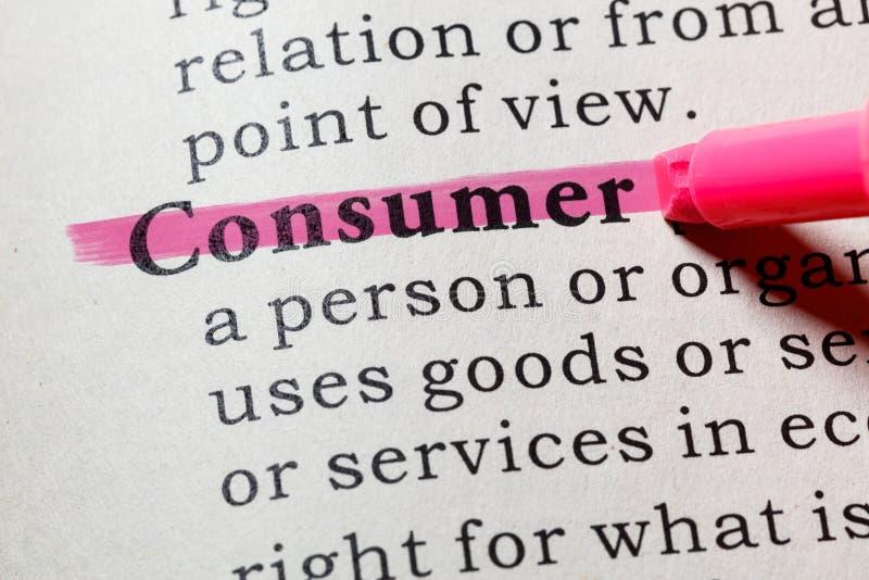 Definição do consumidor imagens de stock