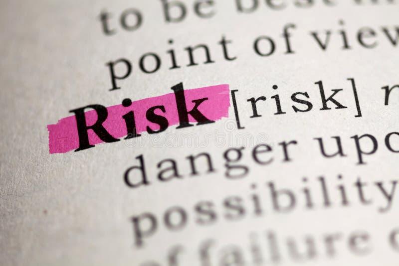 Definição do risco da palavra foto de stock