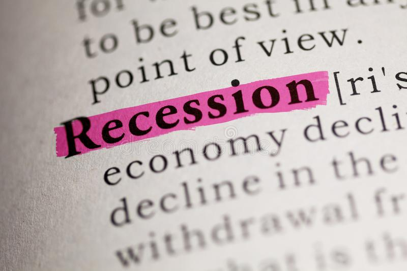 Definição do termo Recessão imagens de stock royalty free
