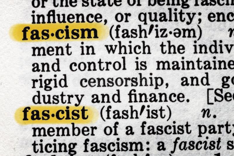 Definición de diccionario del fascismo fotos de archivo libres de regalías