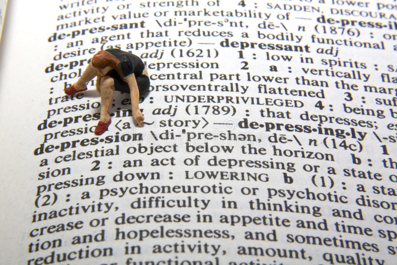 Definición de la depresión foto de archivo