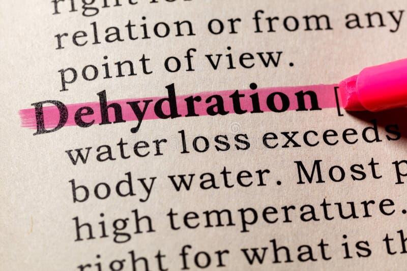 Definición de la deshidratación fotografía de archivo