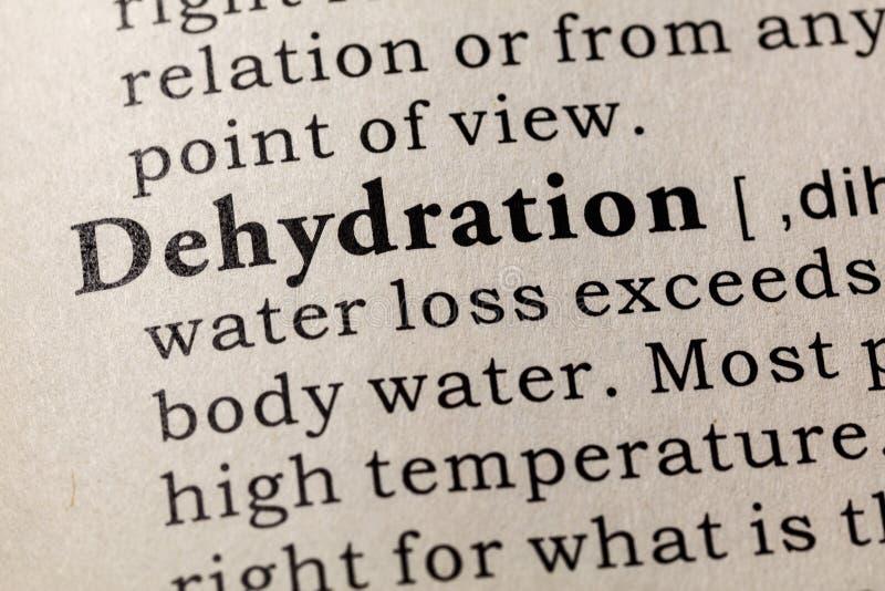 Definición de la deshidratación imagen de archivo