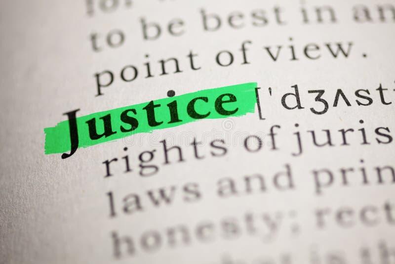 Definición de la justicia de la palabra fotografía de archivo
