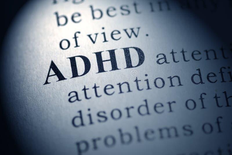 Definición de la palabra ADHD fotografía de archivo libre de regalías