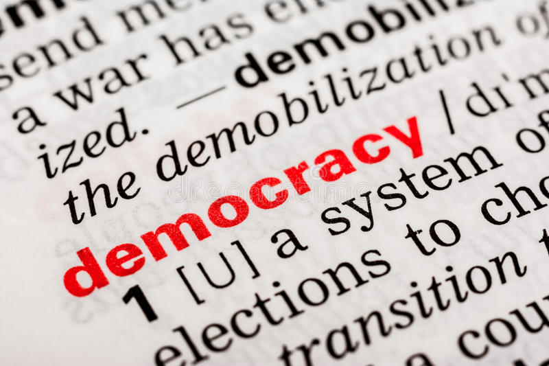 Definición de la palabra de la democracia imágenes de archivo libres de regalías